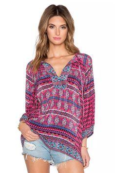 Women Bohemian Blouse Oversized Batwing Sleeve V Tops Vintage Print Shirt M