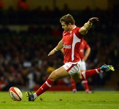 The very welcome return of Leigh Halfpennys thighs, kicking for Wales.