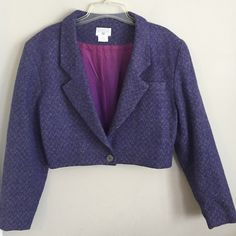 GEORGE GEORGIOU Vintage Cropped Wool Blend Blazer Size M. 65% Wool, 35% Rayon. Made in Cyprus. Purple and Gray small chevron pattern. Lined . Single button to close . Padded Shoulders. George Gergiou Jackets & Coats Blazers