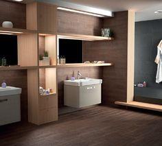 Bathroom featuring Saloni Wooden Series tiles.