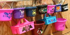 8qt Feed Bucket w/personalized 1 color vinyl by SeeHorseStudio I so need these for all my farm animals:)