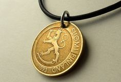 Finnish necklace Coin necklace Lion necklace Bronze by CoinStories