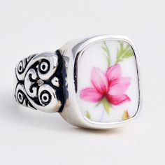 Size 7 Broken China Jewelry Queen Anne Pink Rose Sterling Ring