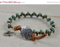 "MOVING SALE Sterling Silver and Turquoise Czech Beaded Wrap Bracelet ""Silver Lining"" Bracelet on Walnut Brown Irish Linen Cord Sterling Silv"