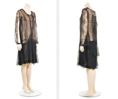 Chanel Black Lace Flapper Dress   French, mid 1920s   In Chantilly style lace with chiffon, with a central rear panel of silk chiffon framed in lace, side and front panels with alternate inerts of lace and chiffon, squared V-neckline, the skirt comprised of various lace flounces over a chiffon underskirt, long half sleeves open at front, snap closures at wrist