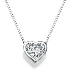 Heart Diamond Pendant Necklace, 14K White Gold #jewelry #necklace @EtsyMktgTool http://etsy.me/2CIVPQU #pendantnecklace #goldpendant