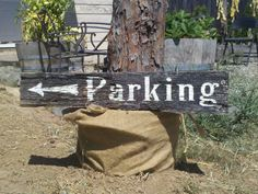 Authentic Barnwood Smaller Parking Sign W/ Left Arrow. Directional handpaited sign for outdoor/rustic/folk/diy wedding/reception/event. $20.00, via Etsy.