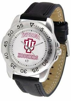 Indiana University Hoosiers Men's Workout Sports Watch by SunTime. $47.95. Men. Leather Band-Scratch Resistant Crystal. Adjustable Band. Officially Licensed Indiana Hoosiers Men's Workout Sports Watch. Calendar Function With Rotating Bezel. Indiana Hoosiers men's workout sports watch. This Hoosiers exercise watch with a genuine leather strap. A date calendar function plus a rotating bezel/timer circles the scratch-resistant crystal. Sport the bold, colorful, high qu...