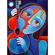 Cubist Abstract Original Painting Marlina Vera Art ($475) ❤ liked on Polyvore