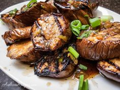 Grilled Chinese Eggplant Recipe with Garlic and Ginger Sauce - Andrea Meyers Grilled Eggplant, White Eggplant, Garlic Recipes, Asian Recipes, Great Recipes, Summer Recipes, Favorite Recipes, Chinese Eggplant Recipes, Eating Clean