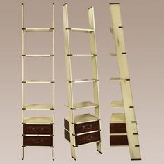 Library Ladder Bookcase in Ivory Finish Home Office Furniture, Accent Furniture, New Furniture, Ladder Bookshelf, Library Ladder, Nautical Furniture, Beach Room, Ladder Decor, Shabby Chic