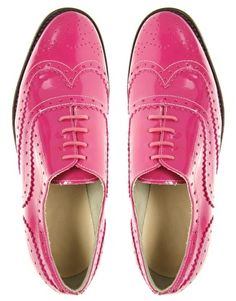 ASOS MARKY Patent Leather Traditional Brogues in Bright Pink $59.94