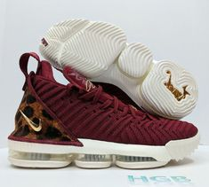 f8fe5500d60 eBay  Sponsored Nike LeBron 16 King Team Red Metallic Gold Leopard Print  Basketball AO2588-