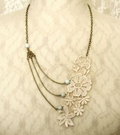 lace necklace  bridal necklace MEREDITH ivory by tinaevarenee, $36.00