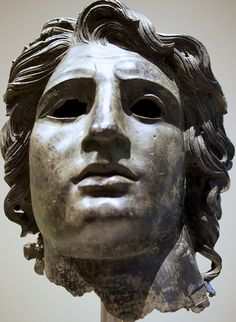 Alexander The Great King of Macedonia. Bronze portrait of Alexander the Great. Greek or Roman, Late Hellenistic to Hadrianic, ca 150 B. Ancient Greek Sculpture, Ancient Greek Art, Ancient Rome, Ancient Greece, Egyptian Art, Ancient Aliens, Greek History, Ancient History, Art History