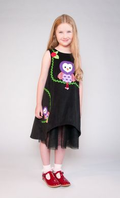 https://www.cityblis.com/6024/item/12579 | Luna Dress black size M to XL - $168 by Little Mizzi | Baby wale corduroy Dress with funny owl appliqué, rickrack and crochet flowers. 