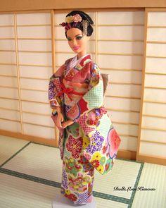 doll kimono candy colour kawaii kimono set for Barbie dolls