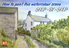 How to paint a wateroclour cottage scene with just 6 colours and 3 bruhes. Detailed step-by-step guide with illustrations.