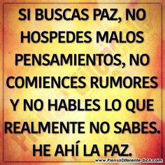 #si #buscas #paz #no hospedes #malos #pensamientos no comiences #rumores #y no hables #lo #que no #sabes #he #ahi #la pa...