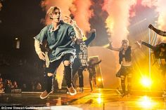 Hitting all the high notes: Justin delighted his fans with both his vocals and his aesthet...