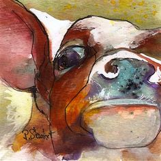 4x4 Moo Cow Up Close In Your Face Watercolor  and  Ink, Penny StewArt - Original Fine Art for Sale - © by Penny Lee StewArt www.craftylady.com