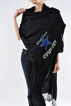 Dallas Cowboys Rhinestone Pashmina Shawl - Beautiful Cowboys Woman's Scarf on Etsy, $29.95