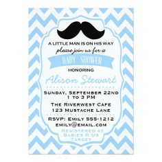 Little Man Mustache chevron Baby Shower invitation
