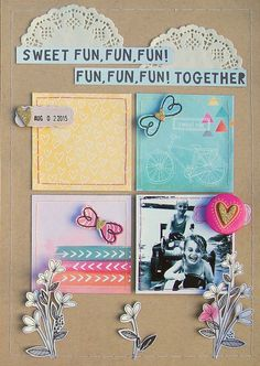 "Never Cut the Scrap!: ""Sweet fun together"" layout. #americancrafts #amytangerine #scrapbooking"