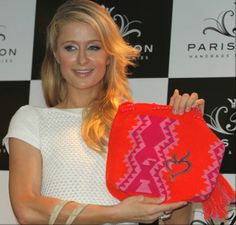 Here's Paris Hilton Receiving a Beautiful Wayuu Mochila from our Colombian Wayuu Tribe.