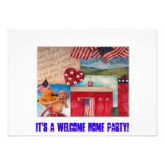 playing with collage & font is kind of fun, AMERICAN FLAG PATRIOTIC CUSTOM INVITE