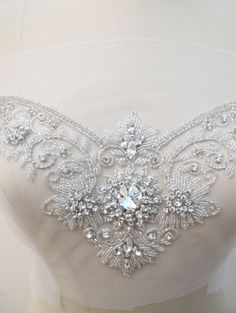 Crystal Rhinestone Applique for Sweetheart Neckline Bridal Dresses Wedding Gown