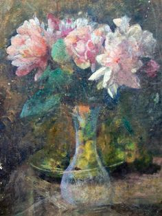 Glass vase with flowers by H. Giton (19th century French oil painter)