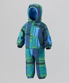 Fuse Green Blue Plaid First Snow Jacket & Bib Pants - Infant