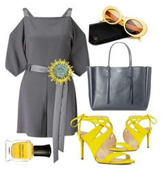 """""""Grey and Yellow"""" by ghostgypsy on Polyvore featuring Miss Selfridge, Nine West, Lanvin, Crap and Deborah Lippmann"""