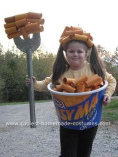 GREAT SITE FOR COSTUME IDEAS  Started with a laundry basket covered with cardboard... macaroni made from recycled paper towel tubes, toilet paper tubes and wrapping paper tubes painted a very cheesy yellowish-orange. I connected more tubes with clear elastic to make the hat.