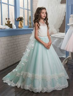 New wedding princess butterfly cape lace girls dress 2017 green puffy pageant ball gown dress for girls glitz kids evening gown
