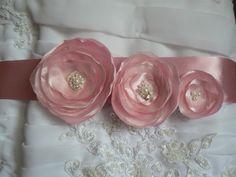 Light Pink Wedding Bridal Dress Sash/Belt Made Of Satin Ribbon, Organza, Satin, Lace, Pearl Beads. $40.00, via Etsy.