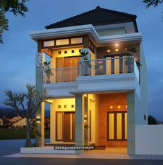 Desain rumah karya tim jasagambarrumah.com kali ini memiliki konsep rumah hook seperti di Bali namun kali ini dibangun di Tulungagung. Tentunya sesuai dengan permintaan pemilik rumah, dengan gaya rumah hook dengan 2 lantai yang simple dan sederhana. Memiliki komposisi warna cream dan putih yang memberikan kesan elegan. 2 Storey House Design, House Gate Design, House Front Design, Small House Design, Cool House Designs, Home Building Design, Building A House, Architect Design House, Minimal House Design