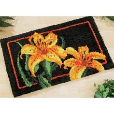 Tiger Lilies Rug $79.99  http://www.herrschners.com/Product/Craftways+Tiger+Lilies+Rug+Latch+Hook+Kit.aspx
