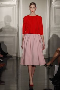 Emilia Wickstead. Loving the red + pink combo.