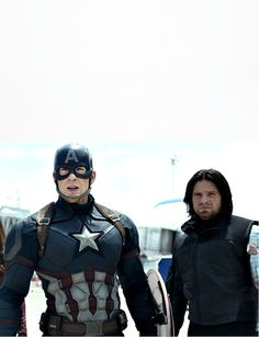 Chris Evans (Captain America) and Sebastian Stan (Winter Soldier). Captain America: Civil War (2016).