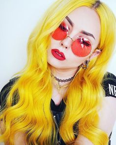 Preferred Hair Long Straight Wig of Human Hair with Baby Hair Brazilian Yellow Ombre Lace Front Wig Bright Hair Colors, New Hair Colors, Hair Colour, Neon Hair, Straight Lace Front Wigs, Mellow Yellow, Neon Yellow, Yellow Style, Yellow Sun
