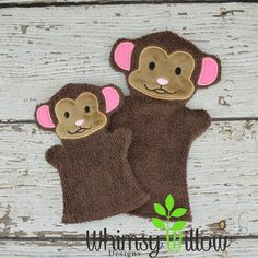 Monkey Bath Puppet ITH Embroidery Design
