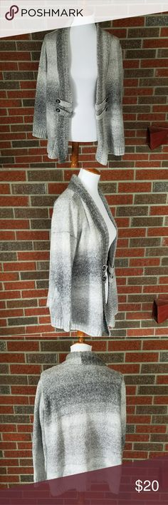 Gray and White Open Front Cardigan size 1X Beautiful plus size open front cardigan. Never worn. Knit style. With button flaps on the front. AGB Sweaters Cardigans