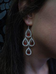 Red Iridescent Earrings