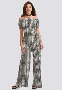 Painted Geo Striped Off the Shoulder Jumpsuit-Plus