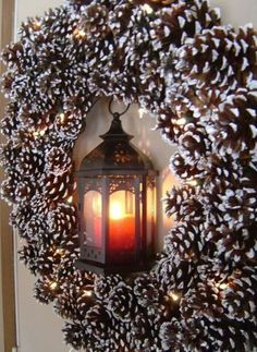 lighted winter Wreath. Like the pine cones, but not so much the lantern.