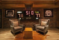 When designing any space, masculine or otherwise, Garrison Hullinger Interior Design told us they always keep the individual's interests and lifestyle in mind throughout the design development and execution. Looking at this basketball-themed space, it's not hard to guess the interests of this particular individual.
