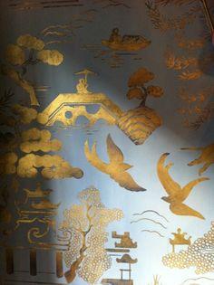 A Matt Austin Studio Mural detail. 22kt gold over an Indigo and french grey casein ground.