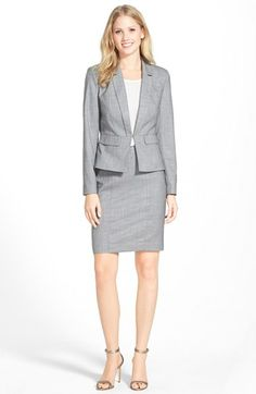 Halogen® Crosshatch Peplum Suit Jacket & Skirt available at #Nordstrom